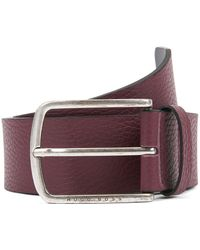 BOSS - Belt In Grained Leather With Rounded Buckle - Lyst