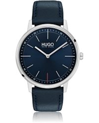 HUGO - Unisex Blue-dial Watch With Leather Strap - Lyst