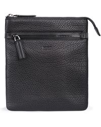 HUGO - Zipped Envelope Bag In Buffalo-embossed Italian Leather - Lyst