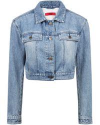 HUGO - Cropped Jacket In Stonewashed Denim - Lyst