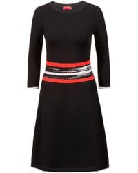 HUGO - Fit-and-flare Knitted Dress With Graphic-stripe Waistband - Lyst