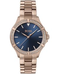 BOSS - Carnation-gold-plated Watch With Crystal-trimmed Bezel - Lyst
