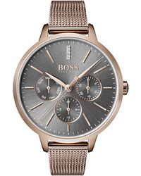 BOSS - Multi-eye Watch In Carnation-gold-plated Steel - Lyst