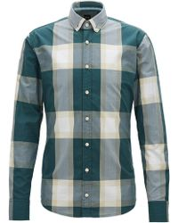 BOSS - Slim-fit Shirt In Cotton Poplin With Oversized Check Pattern - Lyst