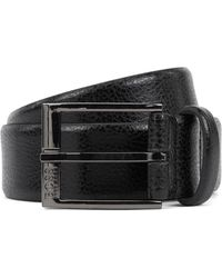 BOSS - Grained-leather Belt With Gunmetal Buckle - Lyst