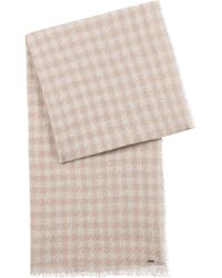 HUGO - Virgin-wool-blend Scarf With Jacquard-knit Houndstooth Check - Lyst