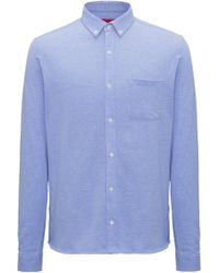 HUGO - Relaxed-fit Shirt In Single-jersey Piqué - Lyst