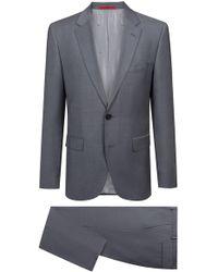 HUGO - Regular-fit Suit In Textured Virgin Wool - Lyst