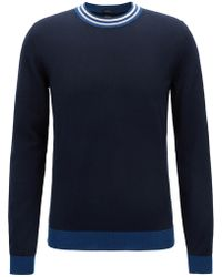 BOSS - Slim-fit Cotton Sweater With Striped Crew Neck - Lyst