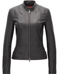 HUGO - Regular-fit Leather Jacket With Stand Collar - Lyst