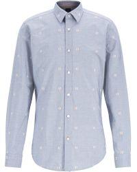 BOSS - Regular-fit Shirt In Patterned Fil-coupé Cotton - Lyst