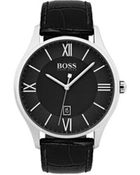 BOSS - Three-hand Watch With Two-tier Black Dial And Emed Leather Strap - Lyst