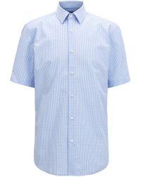 BOSS - Short-sleeved Cotton Shirt In A Regular Fit - Lyst