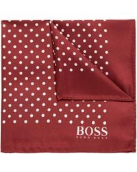 BOSS - Dot-print Pocket Square In Silk With Rolled Hem - Lyst