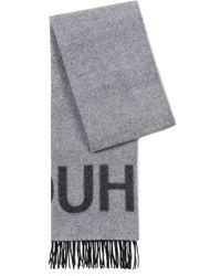 HUGO - Unisex Reverse-logo Scarf In A Brushed Wool Blend - Lyst