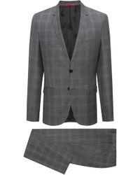HUGO - Extra-slim-fit Virgin-wool Suit In Check Pattern - Lyst