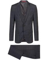 HUGO - Slim-fit Three-piece Suit In Checked Virgin Wool - Lyst