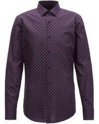 BOSS - Slim-fit Shirt In Italian Cotton With Seasonal Motif - Lyst