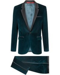 HUGO - Extra-slim-fit Velvet Suit With Silk Trims - Lyst