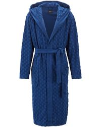 BOSS - Hooded Dressing Gown In Monogrammed French Terry - Lyst