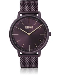 HUGO - Purple-plated Stainless-steel Watch With Mesh Bracelet - Lyst