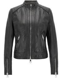 BOSS - Regular-fit Biker Jacket In Lambskin Nappa Leather - Lyst