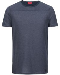 HUGO - Crew-neck T-shirt In Pima Cotton With Spliced Stripes - Lyst