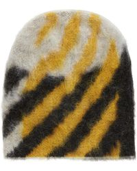 BOSS - Textured Wool-blend Beanie Hat With Contrast Pattern - Lyst