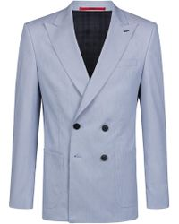 9a1265e03a95a Emporio Armani Double Breasted Pea Coat with Shaded Stripes in Gray ...