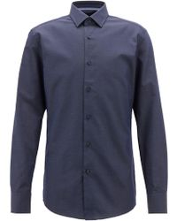 BOSS - Slim-fit Shirt In Italian Cotton With Dot Motif - Lyst