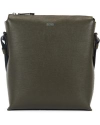 BOSS - Reporter Bag In Straw-printed Italian Leather - Lyst