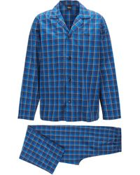 BOSS - Pyjama Set In Checked Cotton Twill - Lyst