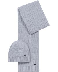 HUGO - Reverse-logo Beanie Hat And Scarf Gift Set - Lyst