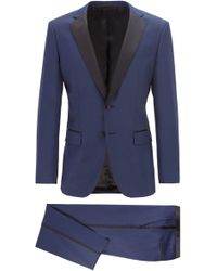BOSS Halven/gentry Slim-fit Wool Tuxedo - Blue