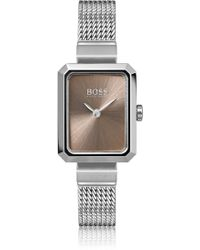 BOSS - Rectangular Stainless-steel Watch With Carnation-gold Dial - Lyst