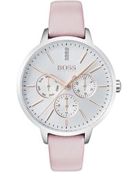 BOSS - Multi-eye Watch With Diamonds And Leather Strap - Lyst