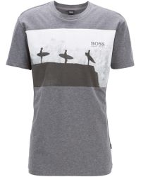 BOSS - Relaxed-fit T-shirt In Melange Cotton With Beach Graphic - Lyst
