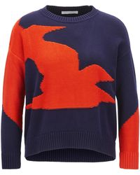 BOSS - Cotton-blend Sweater With Seagull Intarsia - Lyst