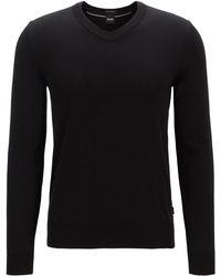 BOSS - Long-sleeved Cotton Jumper With V Neckline - Lyst