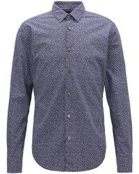 BOSS - Slim-fit Shirt In Cotton With Anni Albers-inspired Pattern - Lyst