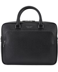 98ab65ac30 Brooks Brothers Saffiano Leather Slim Briefcase in Black for Men - Lyst