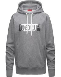 HUGO - Hooded Sweatshirt With Metallic Reversed Logo - Lyst
