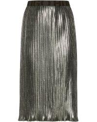 HUGO - Plissé Midi Skirt In Metallic Jersey With Logo Waistband - Lyst