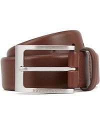 BOSS - Leather Belt With Logo-engraved Buckle - Lyst