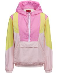 HUGO - Oversized-fit Hooded Jacket With Colourblocking And Half Zip - Lyst