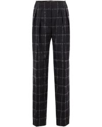 BOSS - Gallery Collection Wide-leg Trousers In A Chequered Wool Blend - Lyst
