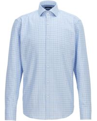 BOSS - Regular-fit Shirt In Two-color Checked Cotton Twill - Lyst
