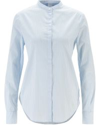 BOSS - Relaxed-fit Striped Blouse With Roll-up Sleeves - Lyst