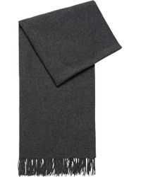 BOSS - Oversized Scarf In Brushed Lambswool With Rolled Fringes - Lyst