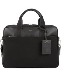 BOSS - Double Document Case With Trims In Italian Leather - Lyst